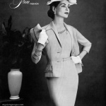 Georgia Hamilton wearing A Prim Fashion, hat by Mr. John 1955