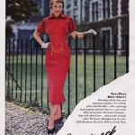 Tippi Hedren wearing an Arnold Junior-Miss dress in Merrimack Velveteen 1950
