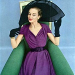 Alice Bruno wearing a dress by Jacques Fath in Enka Rayon 1951 - photo by John Rawlings