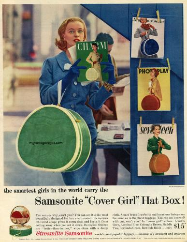 "Samsonite ""Cover Girl"" Hat Box 1956"