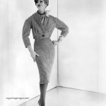 Model wearing suit by Werle' Originals, photo by John Engstead