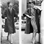 Anne St Marie wearing Schiaparelli coat and John Fredrics hat 1959
