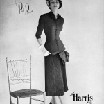 Dorian Leigh wearing a suit by Paul Parnes - A Harrie & Co 1948