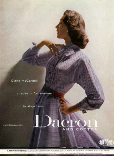 Dovima wearing a dress by Claire McCardell 1956