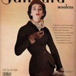 Juilliard Woolens - Dovima wearing suit by Christian Dior 1951