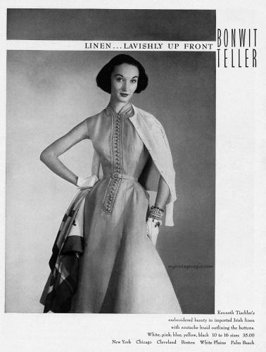 Evelyn Tripp wearing a dress by Kenneth Tischler / Bonwit Teller 1952