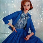 Ladies Home Journal Oct 1957, photo by Emma Gene Hall. Evelyn Tripp wearing Vogue Pattern #9227