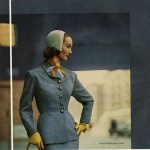 Evelyn Tripp wearing a suit by Junior-Deb 1951