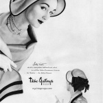 Evelyn Tripp wearing hat by Sally Victor 1950