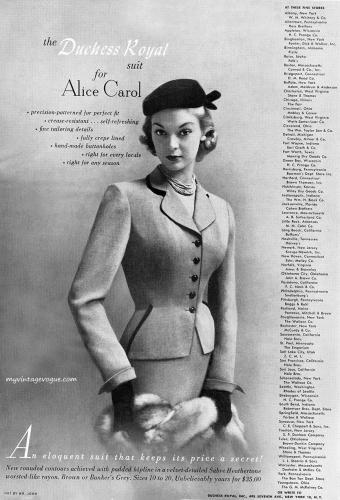 The Duchess Royal suit for Alice Carol / Jean Patchett 1951