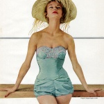 Jean Patchett wearing swimwear by Rose Marie Reid 1954