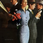 Jean Patchett wearing a suit by Handmacher 1954