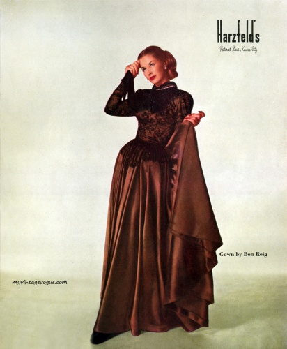 Harzfeld's 1947  Lisa Fonssagrives wearing a gown by Ben Reig
