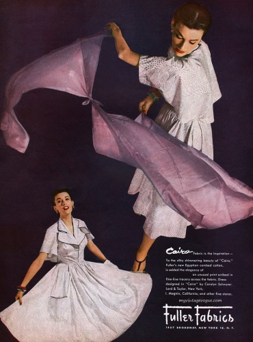 Mary Jane Russell / Fuller Fabrics 1951, dress by Carolyn Schnurer