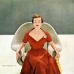 Mary Jane Russell wearing Ceil Chapman 1949