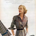 Sunny Harnett wearing a dress by David Crystal in Milliken Woolens 1951