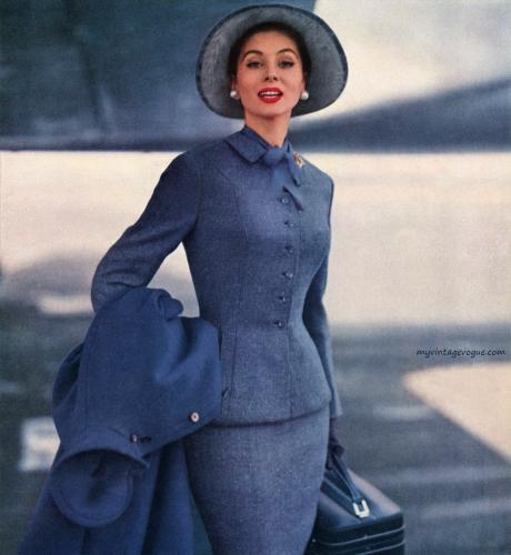 Suzy Parker wearing a suit by Finger & Rabiner, Inc.  1955