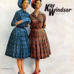Suzy Parker (L) Jean Patchett (R) wearing dresses by Kay Windsor 1959