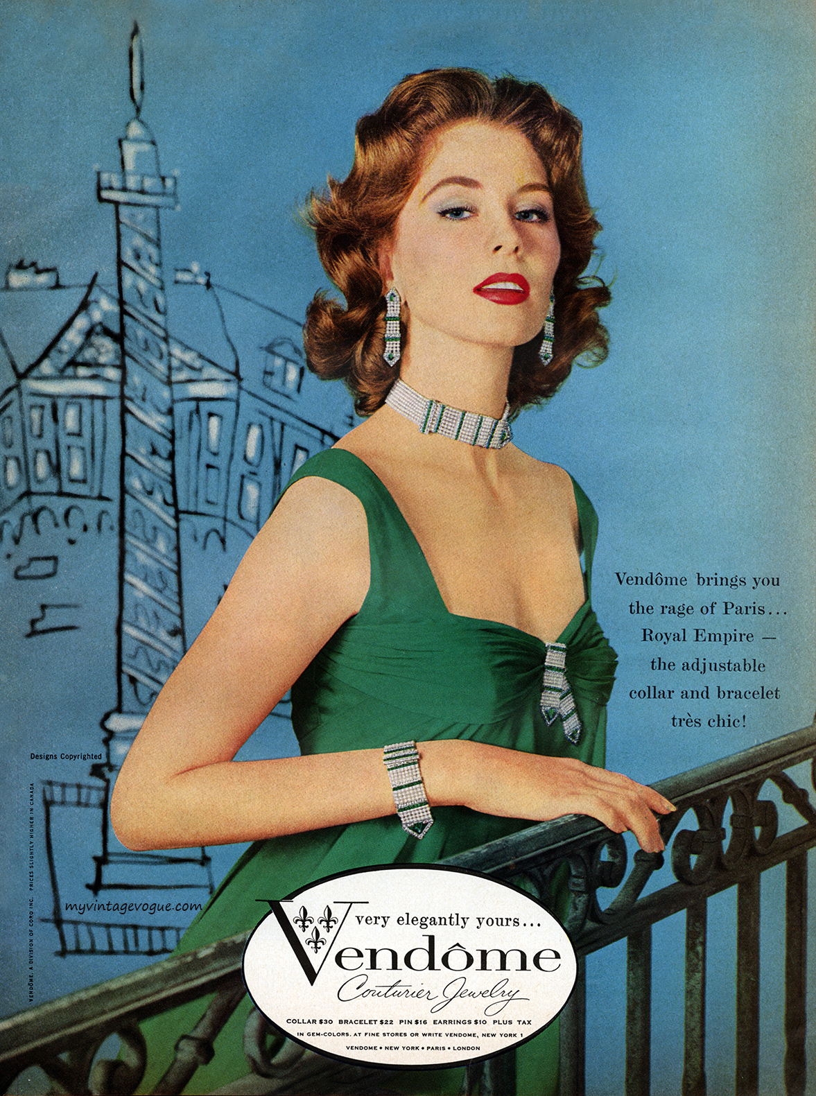 Suzy Parker in an advert, 1958. Image via myvintagevogue.